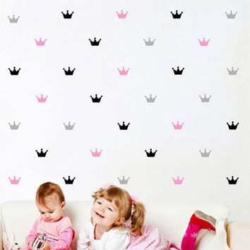 15PCS/Set Free shipping Crown Wall Sticker Princess Baby Girls Wall Decor Pattern Wall Paste Sticker For Kid's Bedroom Decorate