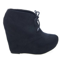 Pager F-Suede Laced Up Close Toe Hidden Platform Wedge Bootie Soda Shoes