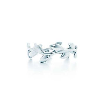 Tiffany & Co. - Paloma Picasso® Olive Leaf narrow band ring in sterling silver.