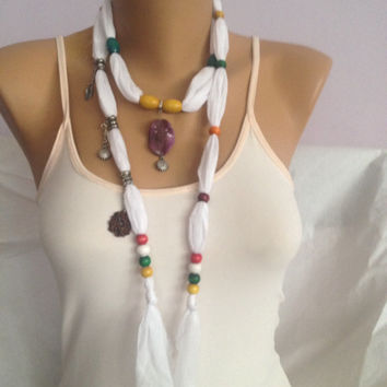 White Scarf - Jewelry Scarf - Bohemian Scarf - Summer Wedding - Bridesmai d Gift - Charm Scarf - White Necklace  Scarf