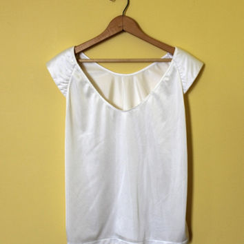 White Bali Tank Top Vintage 90s Grunge Shirt Sheer Retro Top Scoop Neck Slinky Minimalist Tee Plus Size Women