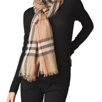 Burberry Giant Check Gauze Scarf, Stone $395.00
