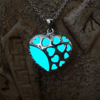 Glowing Blue Pendant, Heart of Hearts, GLOW in the DARK, Glowing Necklace, Glow in the Dark Pendant, Glowing Jewelry, Handmade Necklace