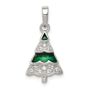 925 Sterling Silver CZ Christmas Tree Necklace Charm