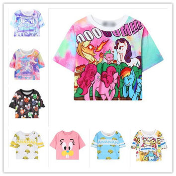 2015 Harajuku kawaii t shirt Catoon style women crop top tie dye t shirt printed unicorn/my little pony/banana Croped tops wt-65