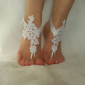 snow white free ship beach wedding barefoot sandals embroidered country wedding bridesmaid gift unique foot accessory bellydance steampunk