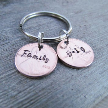 2 Penny Key Chain Hand Stamped Jewelry Double Charm Custom Name Lucky Personalized For You Names Dates 1950 to 2014 Pennies