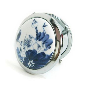 Compact White and Blue Pocket Mirror (Porcelain)