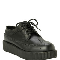 T.U.K. Black Leather Wingtip Viva Low Sole Creepers