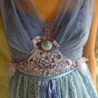 Lupin Faery Gown... Size Medium... Fairy Pixie Wedding Dress Formal Whimsical Fantasy Eco Friendly Recycled