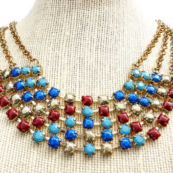 Hand Painted Rhinestone Necklace - Egyptian - Necklace - Gold - Collar - Bib - Gift - Tom Binns - Painted Rhinestones - Jewellery - Egypt