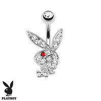 Clear Multi Paved Gems on Playboy Bunny with Red CZ Eye Belly Bar Navel Ring