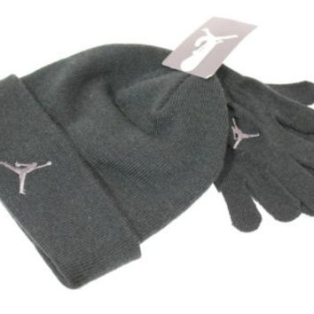 Jordan Kid's Beanie/Gloves Set Black/Grey Jumpman size 8/20