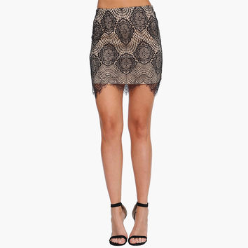 Lace Embroidered Mini Skirt