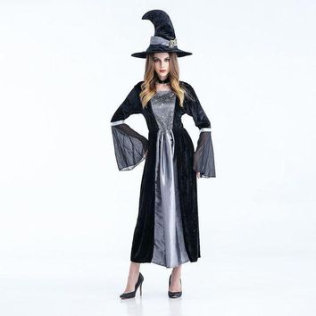 CREY6F Long sexy Witch Costume Deluxe Adult Womens Magic Moment Costume Adult Wizard of Oz Khecari cosplay halloween costumes