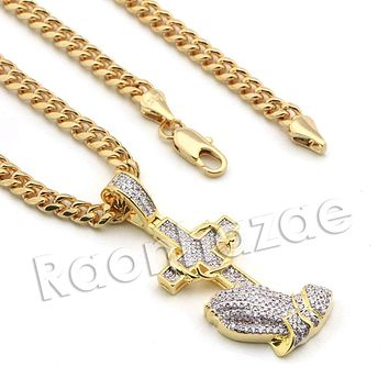 Lab diamond Micro Pave Jesus Cross Praying Pendant w/ Miami Cuban Chain BR059