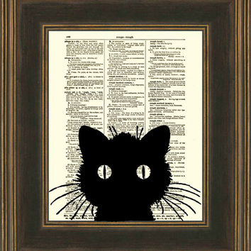 Dictionary Art Print, Cat Silhouette, Antique Dictionary Page, Halloween Decor, Cat Art