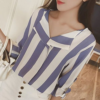 Stripe Lapel Roll-Up Sleeve Loose Fit Blouse
