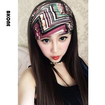 BKONE Vintage British Style Women Hair Accessories Wide Satin Headband Yoga Turban Bandana Headwrap Kerchief Hairbands Bows