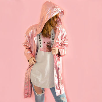 Vintage 80s Pink Metallic Oversized Raincoat Baby Pastel Kawaii Plus Size Hooded Club Rave Festival  XL L XXL 3 XL
