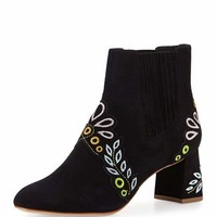 Sophia Webster Liliana Embroidered Suede Bootie, Black