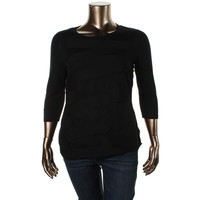 Vince Camuto Womens Plus Banded Trim Scoop Neck Pullover Sweater