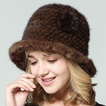 CREYCI7 Women Real Mink Fur Hats With Flower Solid Russian Style Natural Knitted Brim Caps 2017 New Winter Female Thick Warm Headwear