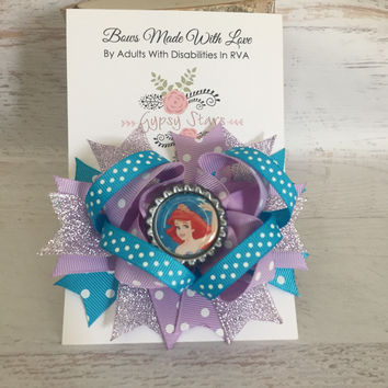 Ariel Bow Disney Princess Ariel Hair Bow Ariel Birthday Ariel Little Mermaid Disney Inspired Newborn Infant Baby Bow Disney Princess Bow