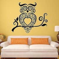 Wall Stickers Owl Bird Tribal Art Living Room Mural Vinyl Decal Unique Gift (ig1925)