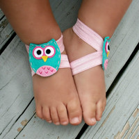 Baby Barefoot Sandals .. Owl Feltie .. Toddler Sandals .. Newborn Sandals