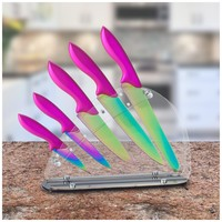 Chef's Star 6 Piece Kitchen Knife Utility Set, Stainless Steel Blade W/ Colored Titanium Coating and Pink Handles, Includes Chef, Bread, Carving, Paring and Utility Knife Plus Acrylic Knife Block