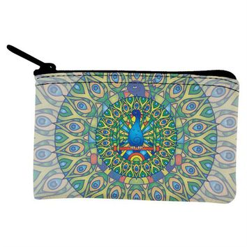 DCCKJY1 Mandala Trippy Stained Glass Peacock Coin Purse