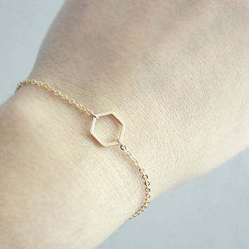 hexagon bracelet - silver or gold tone // dainty, geometric, minimalist layering jewelry /gift for her under 20