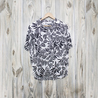 Vintage Botanical Tropical Black and White Blouse