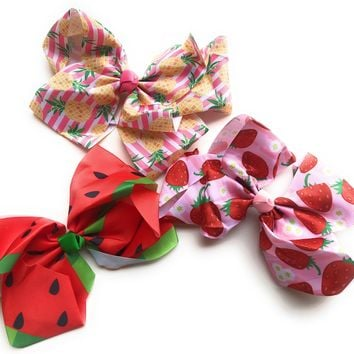 "8"" Fun Fruit Hair Bow Pineapple, Strawberry & Watermelon"