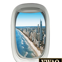 Airplane Window Wall Decal City Beach Scene Peel and Stick Wall Decor Flying PW4