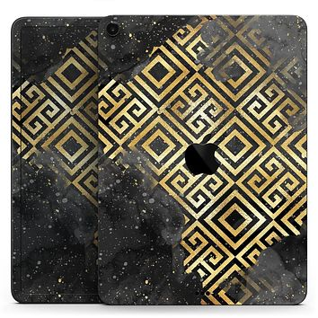 """Karamfila Watercolor & Gold V2 - Full Body Skin Decal for the Apple iPad Pro 12.9"""", 11"""", 10.5"""", 9.7"""", Air or Mini (All Models Available)"""