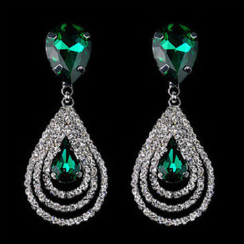 Stylish Water Droplets Crystal Diamonds Earring Earrings [6044427969]