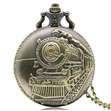 Train Front Locomotive Engine Quartz Railway Pocket Watch Steampunk Nacklace Pendant Womens Mens Gift