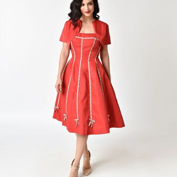 Unique Vintage 1940s Style Red Strapless Ribbon Della Swing Dress & Bolero