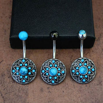 """Turquoise Belly 3 Sizes, 1/4"""" 3/8"""" 1/2"""" Short Medium Long Turquoise Belly Button Ring,  Boho Bohemian Belly Button Ring, 14G Surgical Steel"""