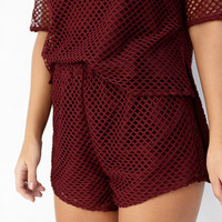 Buy Currant Mesh Shorts Online by SABO SKIRT