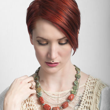 Aniha Statement Necklace - Coral, Gemstone & Sterling Silver Handmade Designer Jewelry