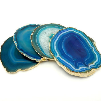 Agate Coasters Set of 4 White Purple and Blue Dyed Coasters - Petite Agates with Druzy Center 24k Gold Electroplated Edges - (RK2B10-16)