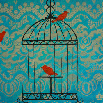 Red Canaries in a Bird Cage Original Painting