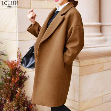 32% Wool Winter Coat Women Loose Long Coat Female Wool & Blends Trench Coats Brand Clothing 2017 New Fashion Gray Black Brown