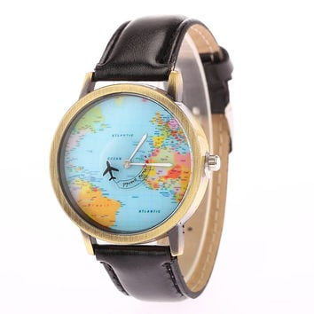 2016 New Fashion Casual Watch Men Women Wristwatch Personality World Map Airplane Pattern Leather Quartz Watch Relogio Clock