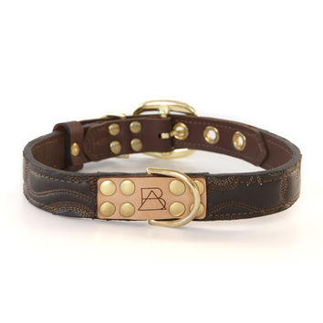 Mahogany Brown Dog Collar with Dark Brown Leather + Tan/Light Rust Stitching