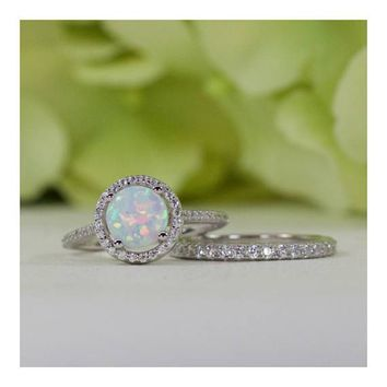 Sterling Silver Halo Round Lab-Created Opal And French Pavé Band CZ Engagement Ring Set