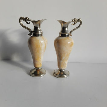 Pair of French vintage alabaster trinkets,vase shaped , Napoleon III style.